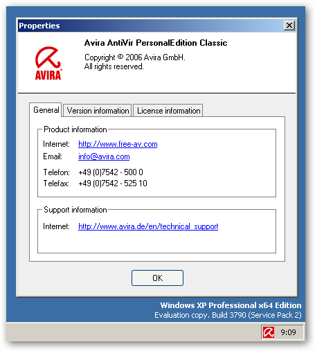 Avira AntiVir® PersonalEdition Classic under x64