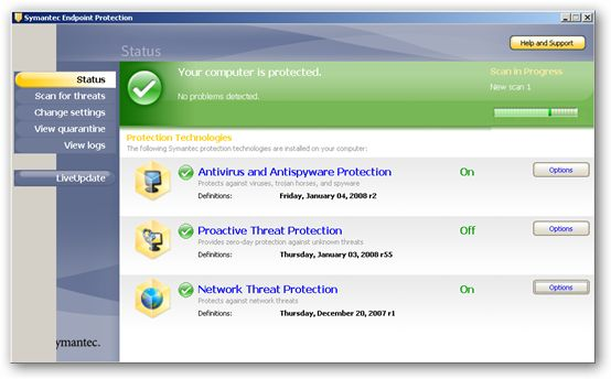 Symantec Endpoint Protection full screenshot