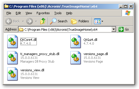 Acronis True Image under 64bit