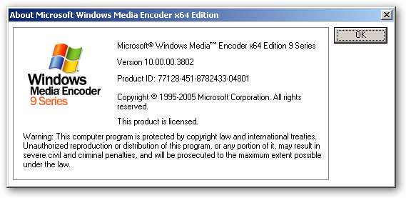 Windows Media Encoder 64bit version
