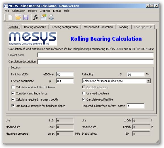 MESYS Rolling Bearing Calculation 64bit version