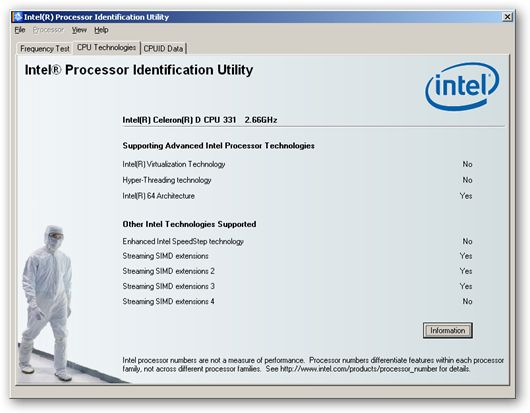 Intel® Processor Identification Utility - under x64