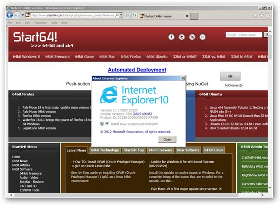 Internet Explorer 10 for Windows 7 64-bit Edition