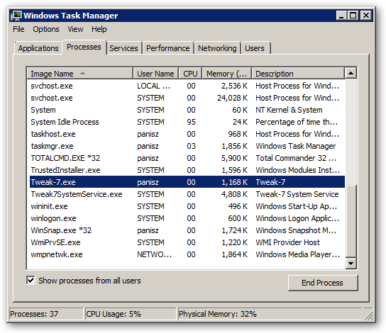 Tweak-7 for Windows 7 64bit version