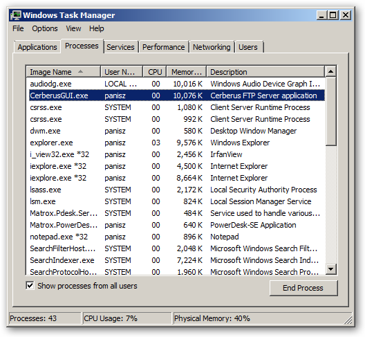 Cerberus FTP Server 64bit version