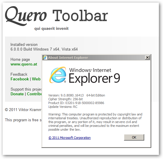 Quero Toolbar 64bit version