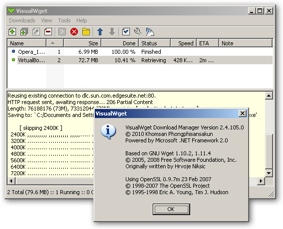 VisualWget - x64 download manager