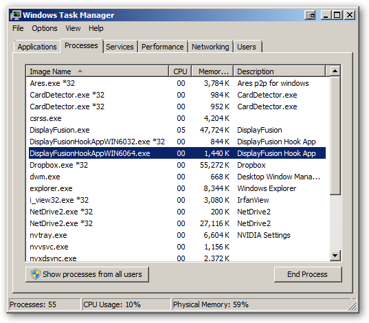 DisplayFusion under 64-bit Windows 7