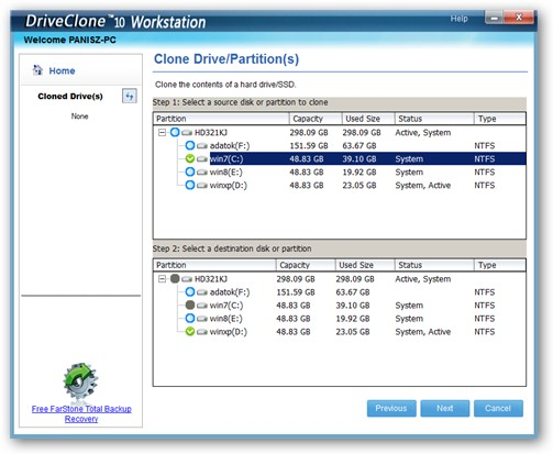 DriveClone under Windows 7 64-bit