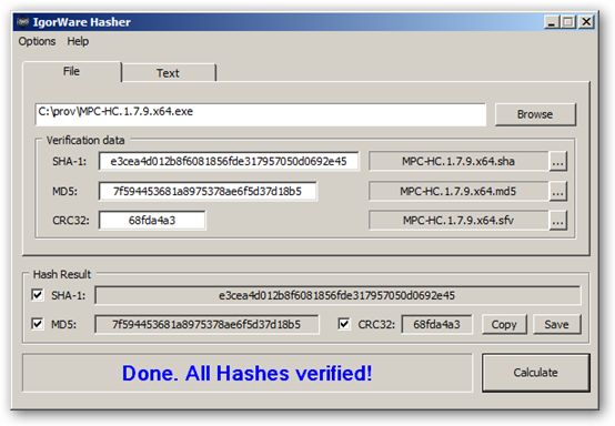IgorWare Hasher 64-bit version
