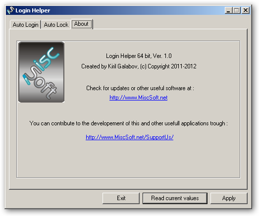 Login Helper 64bit version - auto login & lock for Windows