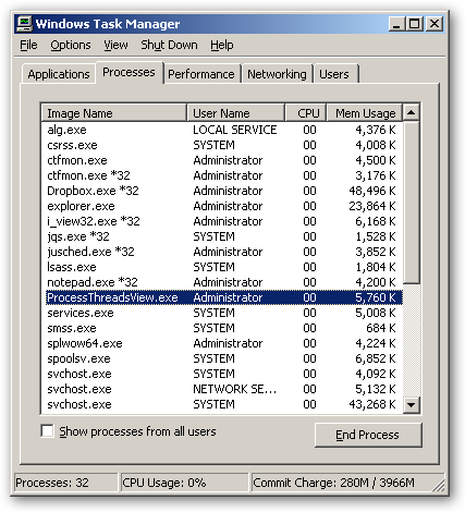 ProcessThreadsView 64bit version