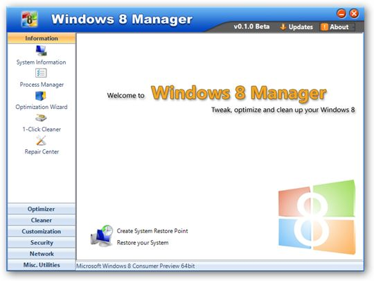 Windows 8 Manager under 64bit