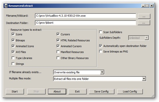ResourcesExtract 64-bit version